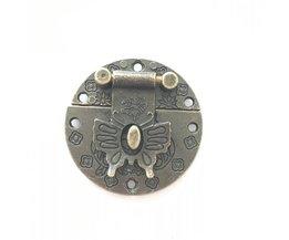 Vlinder Sluiting Legering Cajas Para Joyas Gespen Houten Sieraden Doos Gespen Wijnkist Lock Gesp Decoratieve Hardware, 40mm