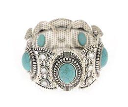 Koop Klassieke vrouwen Retro Vintage groene Steen Leuke Tibet Zilveren kleur lichtmetalen Armband & Bangel Dames Sieraden Accessoires