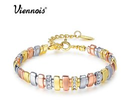 ViennoisGoud & Zilver & Rose Goud Kleur Armbanden Voor Vrouwen Rhinestone Gemengde Kleur Metallic Chain Armbanden en Armbanden