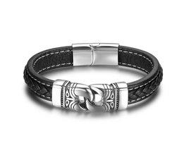 Rvs Ketting Lederen Armband Zwart 220mm Armbanden & Bangles Mannen Vintage Mannelijke Vlecht Sieraden voor Mannen (BA101882)