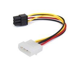 HFES4-Pin Mannelijke om 6-Pin Vrouwelijke socket Power Kabel voor PCIe PCI Express Adapter