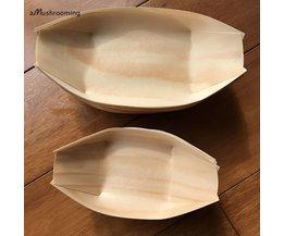 Houten bootvormige wegwerpschalen