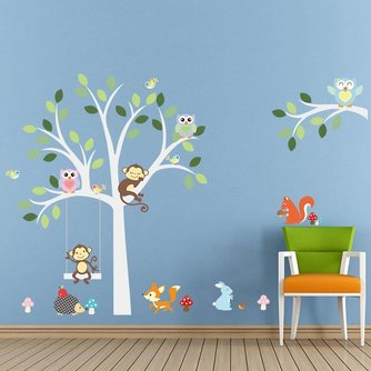 Decoratie Boom Babykamer.Muurstickers Babykamer Kinderen Dieren Boom