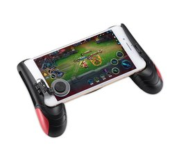 F1 Gamepad Zwart + Rood Game controller Telefoon Analoge Joystick Grip voor Alle Android & iOS SmartPhone Spelen PUBG-zoals, FPS Games