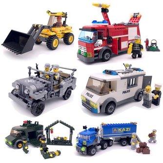 Kids Model Building Kits Diy Robot Voertuig Auto Leger Stad Vrachtwagen Brandweerauto Legoings Gemonteerd Model Jongens Bouwstenen Speelgoed