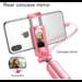 Baseus Wired Selfie Stick Voor iPhone Met Beauty-Huid Vullen Licht Achteruitkijkspiegel Uitschuifbare Zelf Stok 3.5mm Jack voor Samsung Huawei