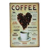 Metalen Emaille Bord met Koffie Design
