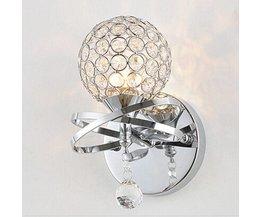 Wandlamp met Chroom en Kristal