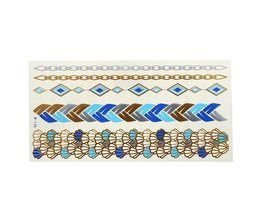 Goud Blauwe Metallic Plaktattoo Sticker