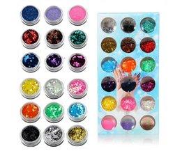 Nail Art Glitter Set met 18 Kleuren