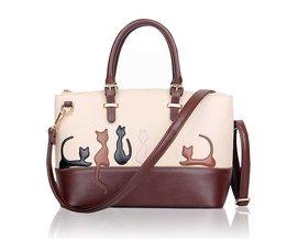 Bruin-Witte Dames Handtassen met Kat of Konijn Patroon