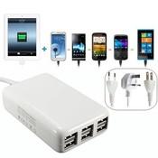 USB Lader met 6 Poorten 5V 6A 30W voor iPhone en iPad