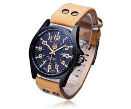 Heren Horloge Kruimelig RVS En Leer
