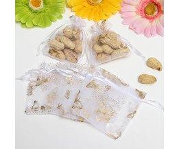 Doorzichtige Cadeauzakjes van Witte Organza 100 St met Vlindertjes
