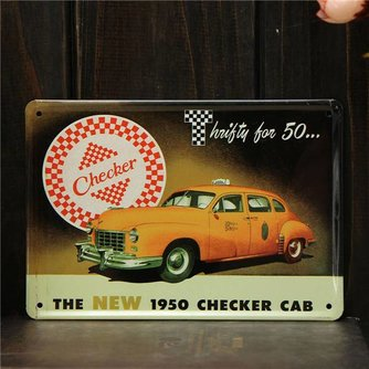 Retro Taxi Bord van Metaal