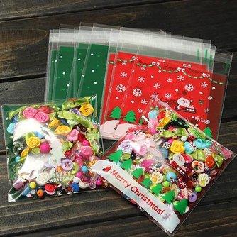 Plastic Zakjes voor Koekjes Zelfklevend Kerst 10Stuks