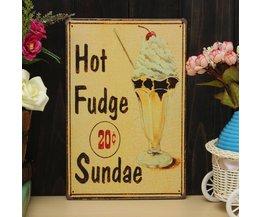 Vintage Plaatje van Metaal met Hot Fudge Sundae