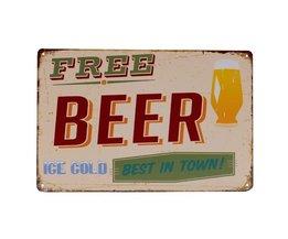 Vintage Emaille Bord met Free Beer 30 x 20 cm