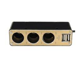 Auto Splitter 1-naar-3 met Dubbele USB-Poort