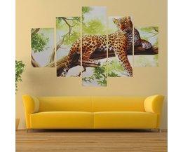 Canvas Schilderij 5-Delig Luipaard