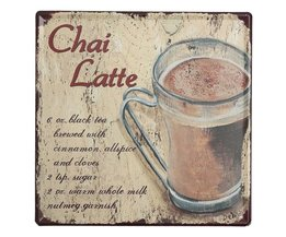 """Emaille Plaat """"Chai Latte"""""""