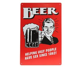 Vintage Bier Wandplaat van Metaal 30x20cm