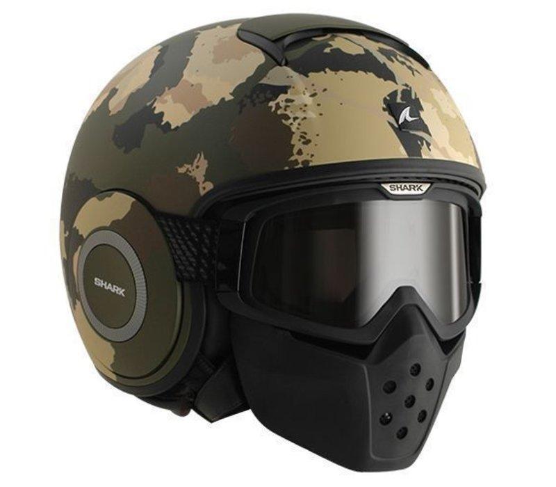 0163b59b6c6d7 Shark Raw Kurtz helmet Matt Green Ecru Black - Champion Helmets ...