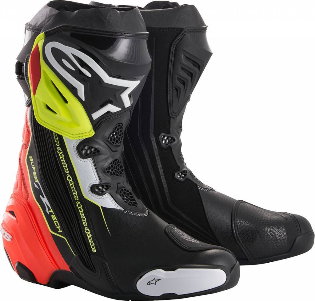 Alpinestars Supertech R Motorcycle Boots Black Red Yellow Fluo Champion Helmets Motorcycle Gear