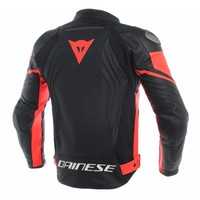 Buy Dainese Racing 3 Leather Jacket Black Fluo Red? Free Shipping!