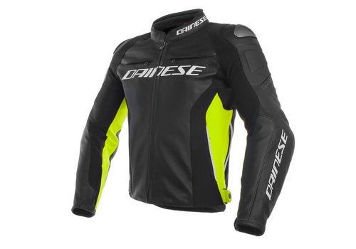 Dainese Racing 3 Leather Jacket - Black Fluo Yellow