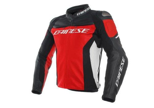 Dainese Racing 3 Leren Motorjas - Rood Zwart Wit