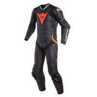 Dainese Laguna Seca 4 Perforated One-Piece Racing Suit Black Fluo Red