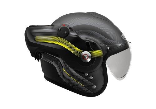ROOF Desmo Streamline Systeem Helm Mat Zwart Fluo Geel