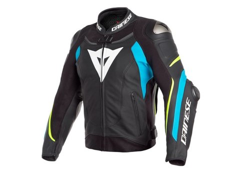 Dainese Super Speed 3 Leather Jacket Black Blue Fluo Yellow