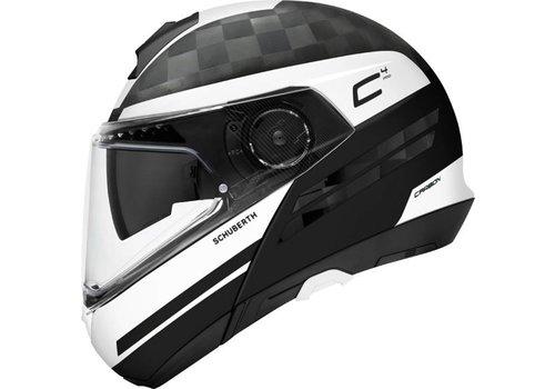 Schuberth C4 Pro Tempest Carbon Helm Schwarz Weiß