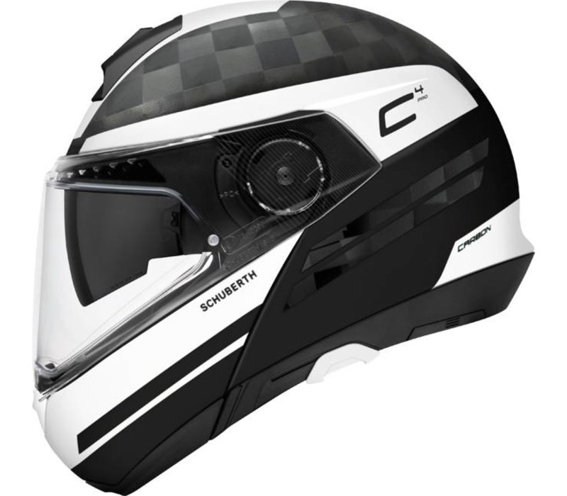 feacd319 Buy Schuberth C4 Pro Tempest Carbon Helmet Black White? + Free Additional  Visor!