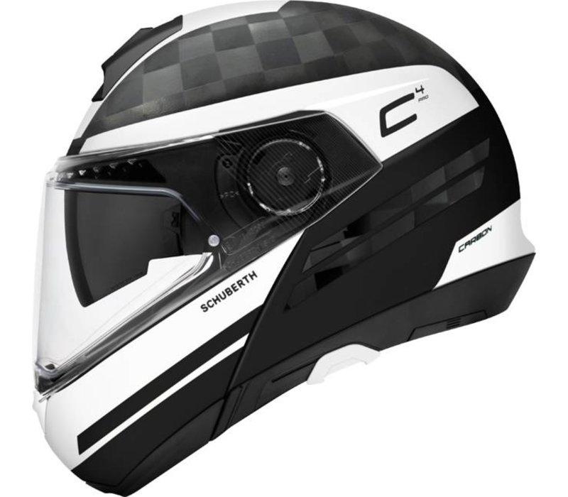 Schuberth C4 Pro Tempest Carbon Helmet Black White + 50% discount Extra Visor!