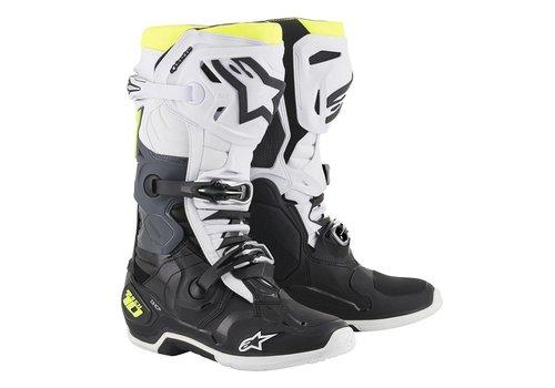 Alpinestars Tech 10 Boots Black White Yellow Fluo