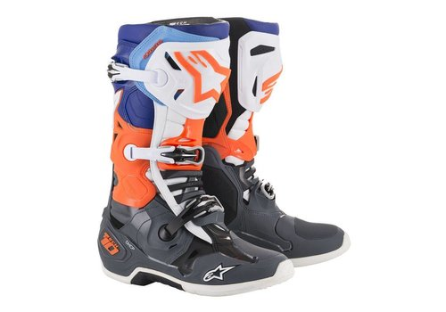 Alpinestars Tech 10 Stiefel Grau Orange Fluo Blau Weiß