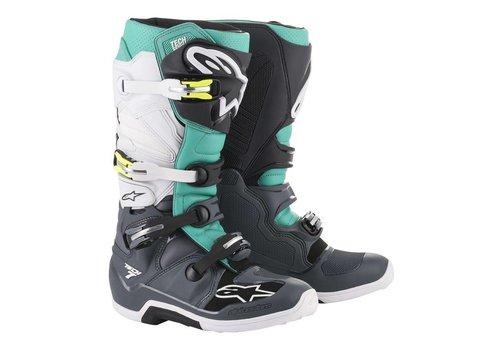 Alpinestars Tech 7 Boots Dark Gray Teal White