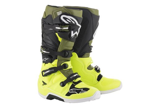 Alpinestars Tech 7 Boots Yellow Fluo Military Green Black