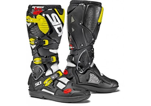 Sidi Crossfire 3 SRS Boots White Black Yellow Fluo