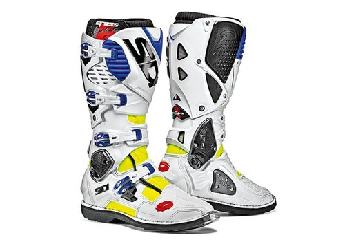 Sidi Crossfire 3 Boots White Blue Yellow Fluo