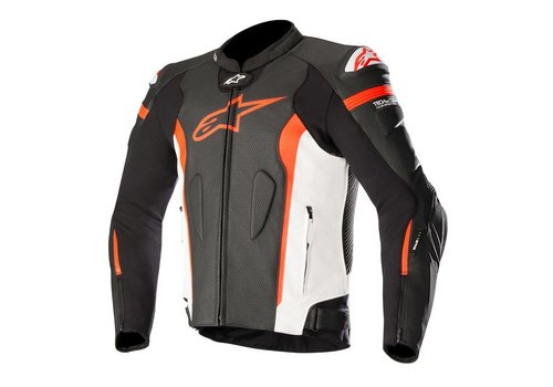 Alpinestars Missile Leather Jacket Tech-Air Black White Red Fluo