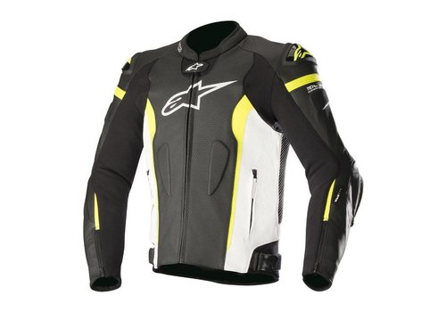 Alpinestars Missile Leather Jacket Tech-Air Black White Yellow Fluo