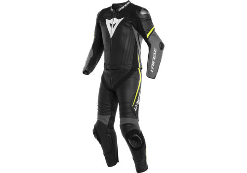Dainese Laguna Seca 4 Two Piece Leather Suit Black Grey