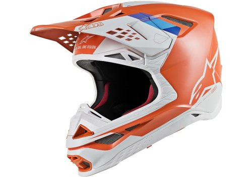 Alpinestars Supertech S-M8 Contact Helm Orange Weiß