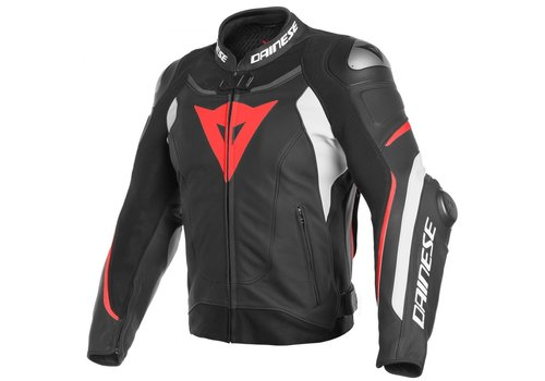 Dainese Super Speed 3 Leather Jacket Black White Fluo Red