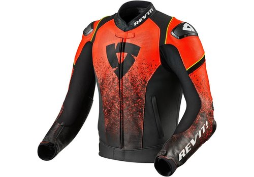 Revit Quantum Leather Jacket Black Fluo Red