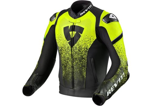 Revit Quantum Leather Jacket Black Fluo Yellow